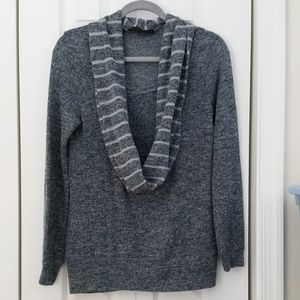 Limited heathered navy cowl neck sweater